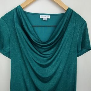 Jaclyn Smith Womens cowl neck line green top